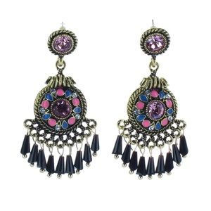 Beautiful blue/purple and pink dangling earrings